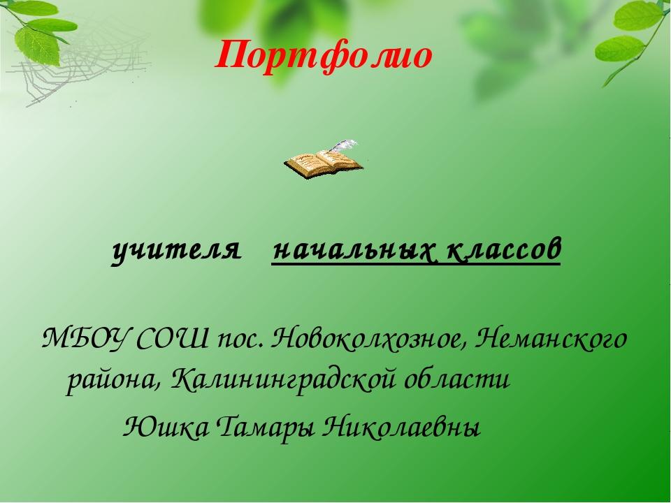 Портфолио учителя начальных классов МБОУ СОШ пос. Новоколхозное, Неманского р...