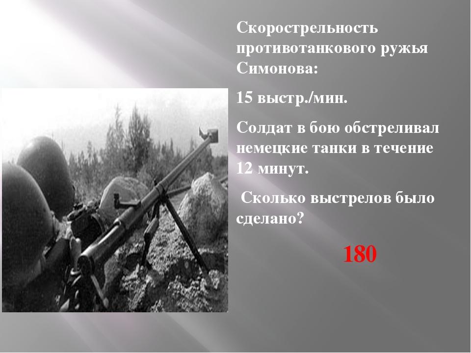 Скорострельность противотанкового ружья Симонова: 15 выстр./мин. Солдат в бою...