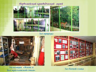 Зал боевой славы Зал природы Экспозиция «Жизнь и быт крестьянской семьи» Перв