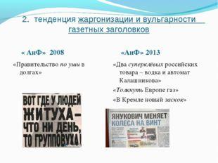 2. тенденция жаргонизации и вульгарности газетных заголовков « АиФ» 2008 «Аи