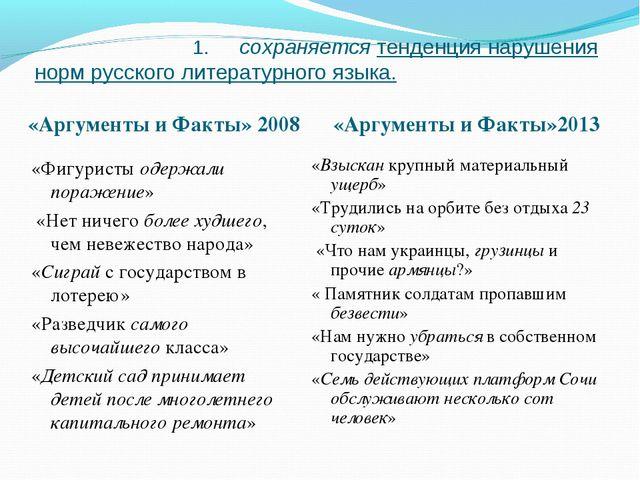 1. сохраняется тенденция нарушения норм русского литературного языка. «Аргум...