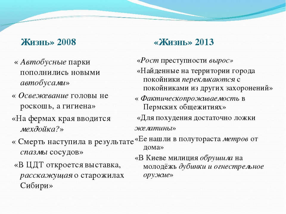 Жизнь» 2008 «Жизнь» 2013 « Автобусные парки пополнились новыми автобусами» «...