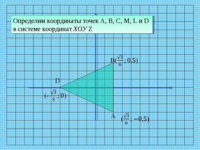 D A Определим координаты точек А, В, С, M, L и D в системе координат ХОУ Z