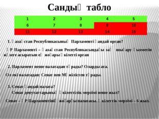 Сандық табло 1. Қазақстан Республикасының Парламенті қандай орган? ҚР Парламе