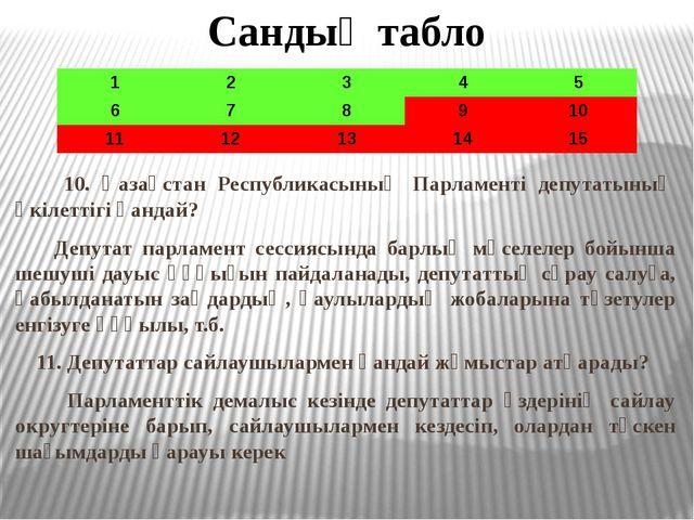 Сандық табло 10. Қазақстан Республикасының Парламенті депутатының өкілеттігі...