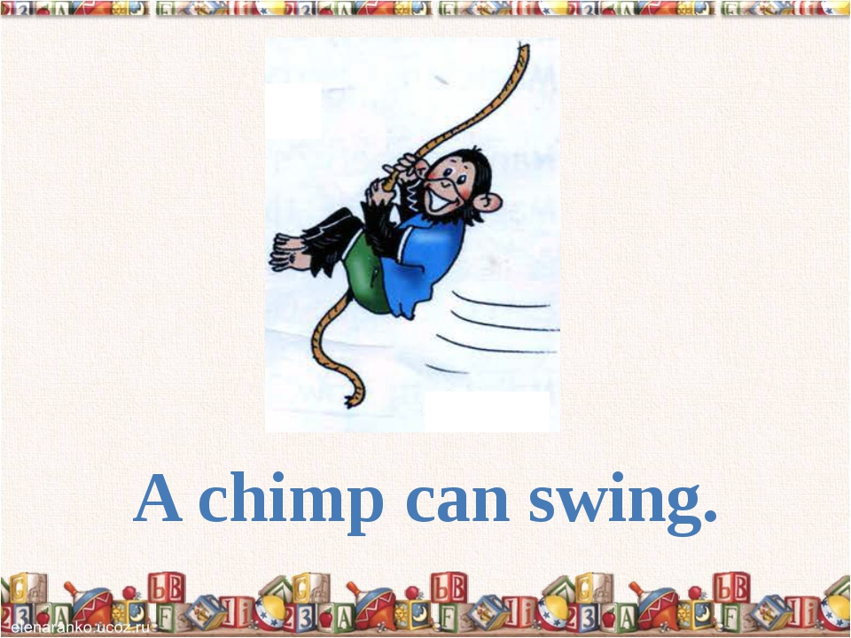 A chimp can swing.