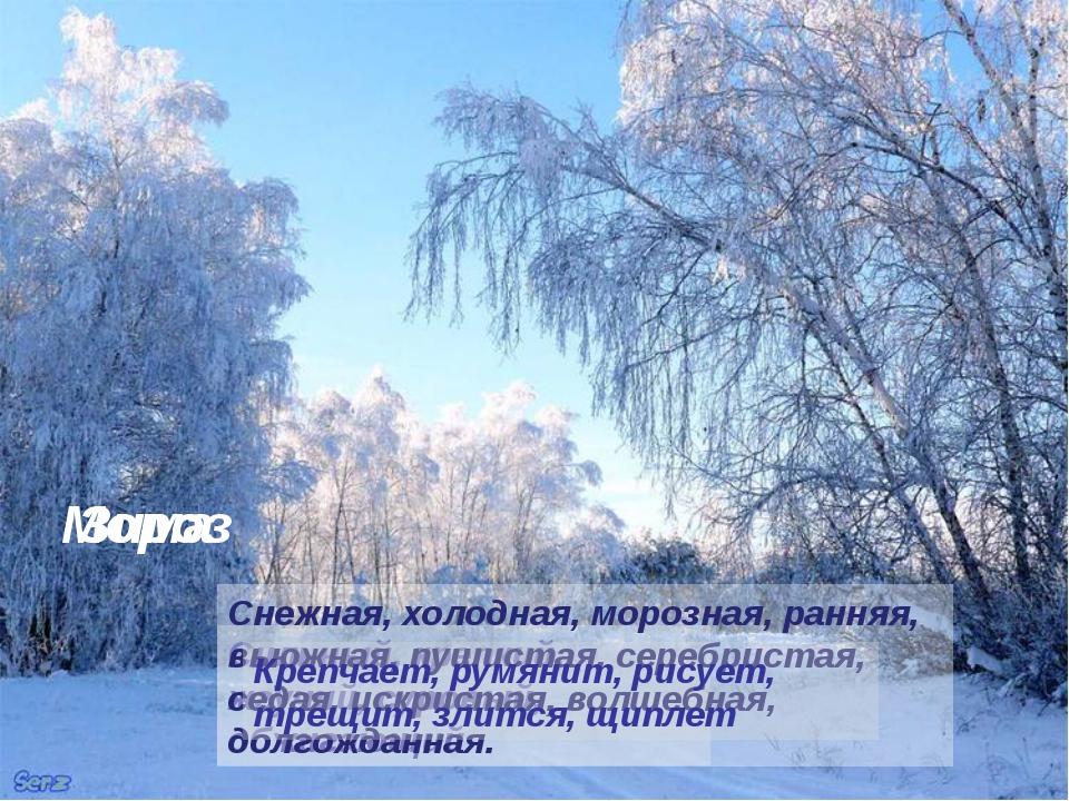Сильный, крепкий, жгучий, суровый, обжигающий Зима Снежная, холодная, морозна...