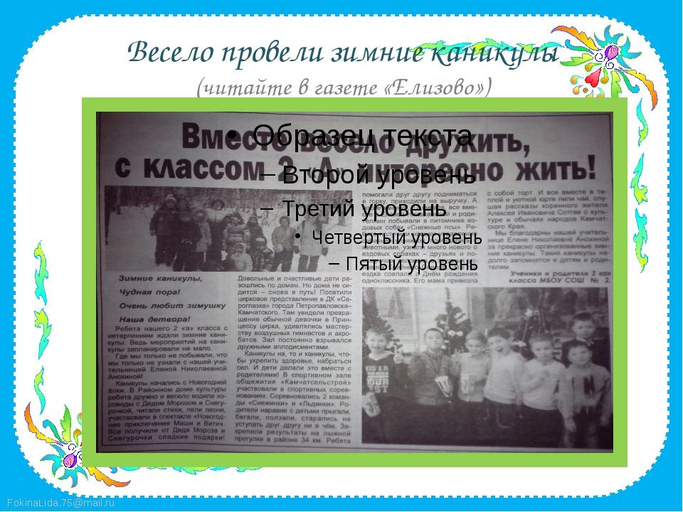 Весело провели зимние каникулы (читайте в газете «Елизово») FokinaLida.75@mai...