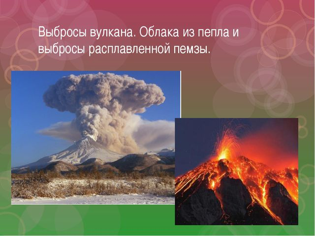Выбросы вулкана. Облака из пепла и выбросы расплавленной пемзы.