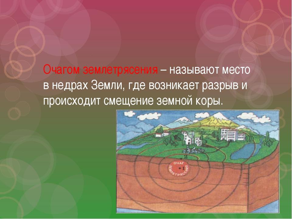 Очагом землетрясения – называют место в недрах Земли, где возникает разрыв и...