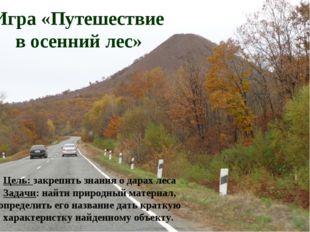 Игра «Путешествие в осенний лес» Цель: закрепить знания о дарах леса Задачи: