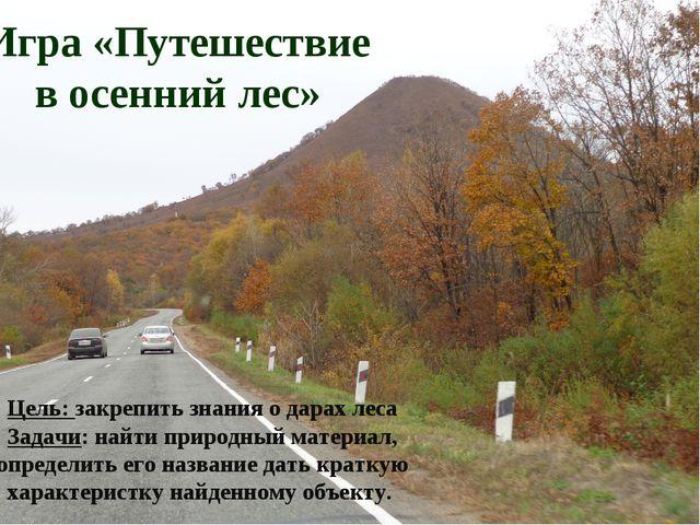 Игра «Путешествие в осенний лес» Цель: закрепить знания о дарах леса Задачи:...