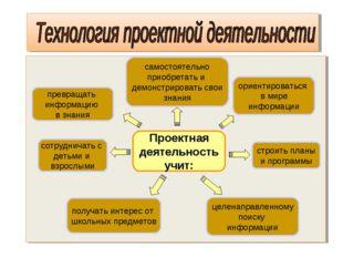 Проектная деятельность учит: строить планы и программы самостоятельно приобре