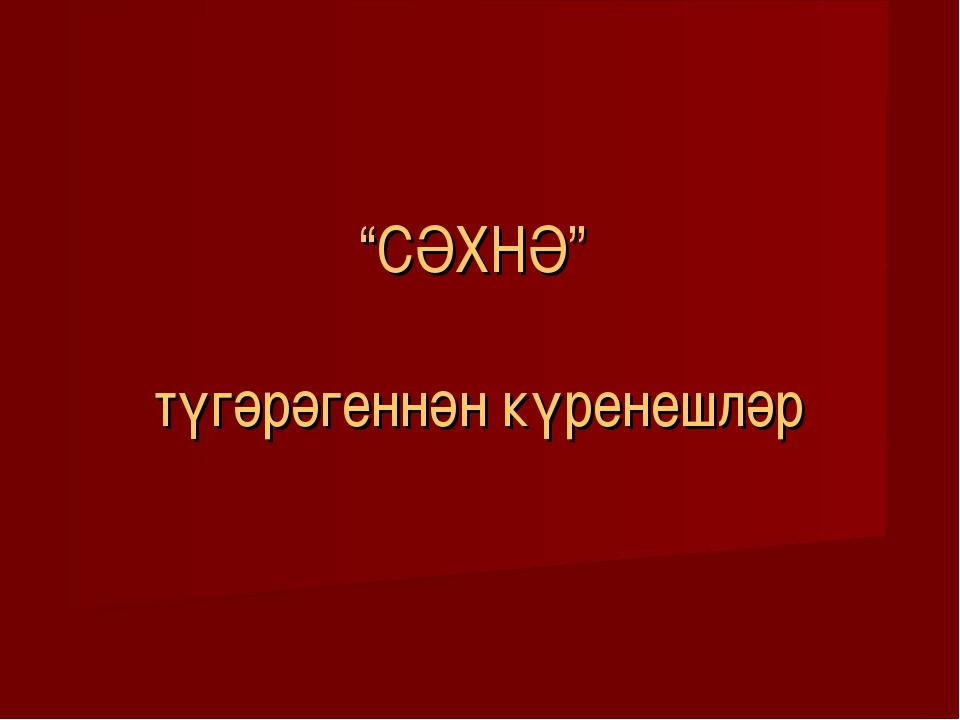 """""""СӘХНӘ"""" түгәрәгеннән күренешләр"""