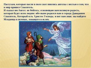Пастухам, которые пасли в поле скот явились ангелы с вестью о том, что в мир