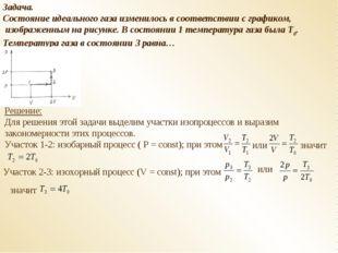 Задача. Состояние идеального газа изменилось в соответствии с графиком, изобр