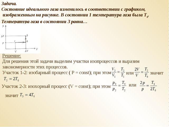 Задача. Состояние идеального газа изменилось в соответствии с графиком, изобр...