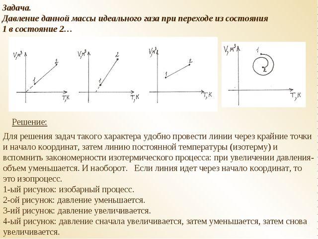 Задача. Давление данной массы идеального газа при переходе из состояния 1 в с...