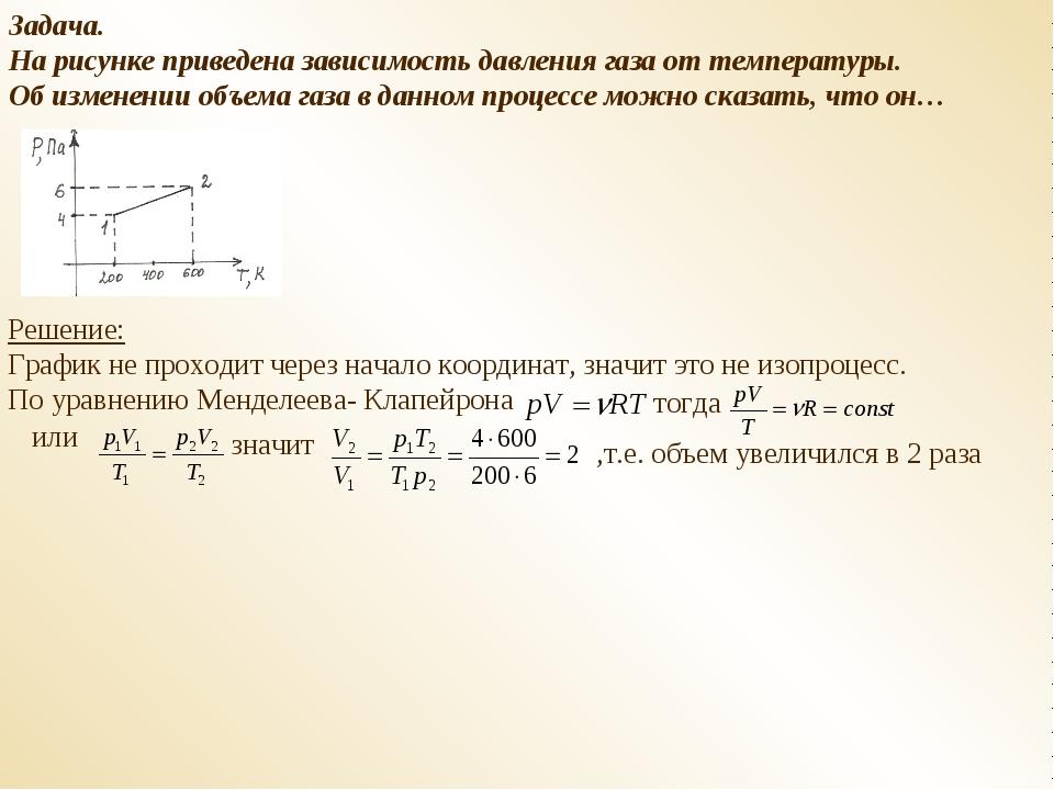 Задача. На рисунке приведена зависимость давления газа от температуры. Об изм...