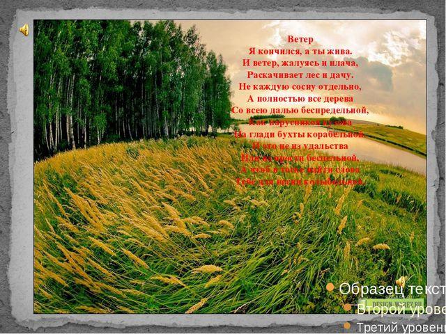 Ветер Я кончился, а ты жива. И ветер, жалуясь и плача, Раскачивает лес и дач...