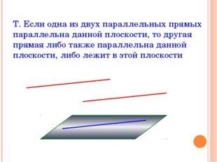 Т. Если одна из двух параллельных прямых параллельна данной плоскости, то дру
