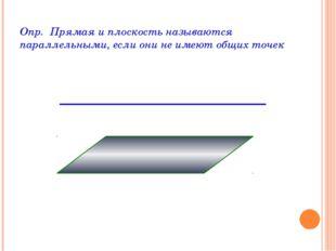 Опр. Прямая и плоскость называются параллельными, если они не имеют общих точек