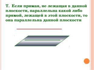 Т. Если прямая, не лежащая в данной плоскости, параллельна какой либо прямой,