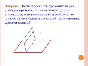 Теорема. Если плоскость проходит через данную прямую, параллельную другой пло