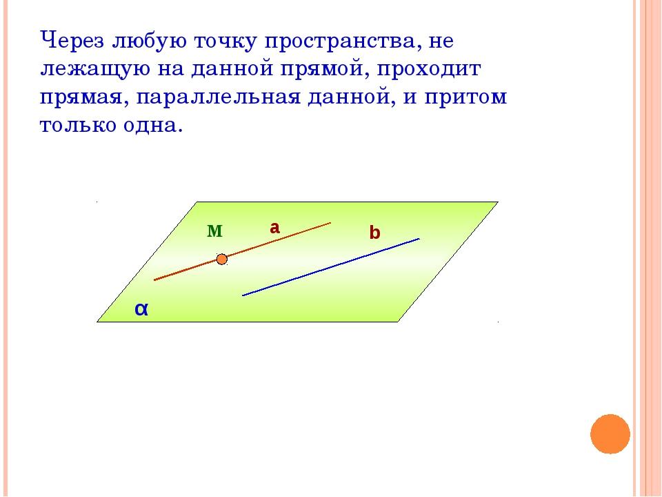 Через любую точку пространства, не лежащую на данной прямой, проходит прямая,...