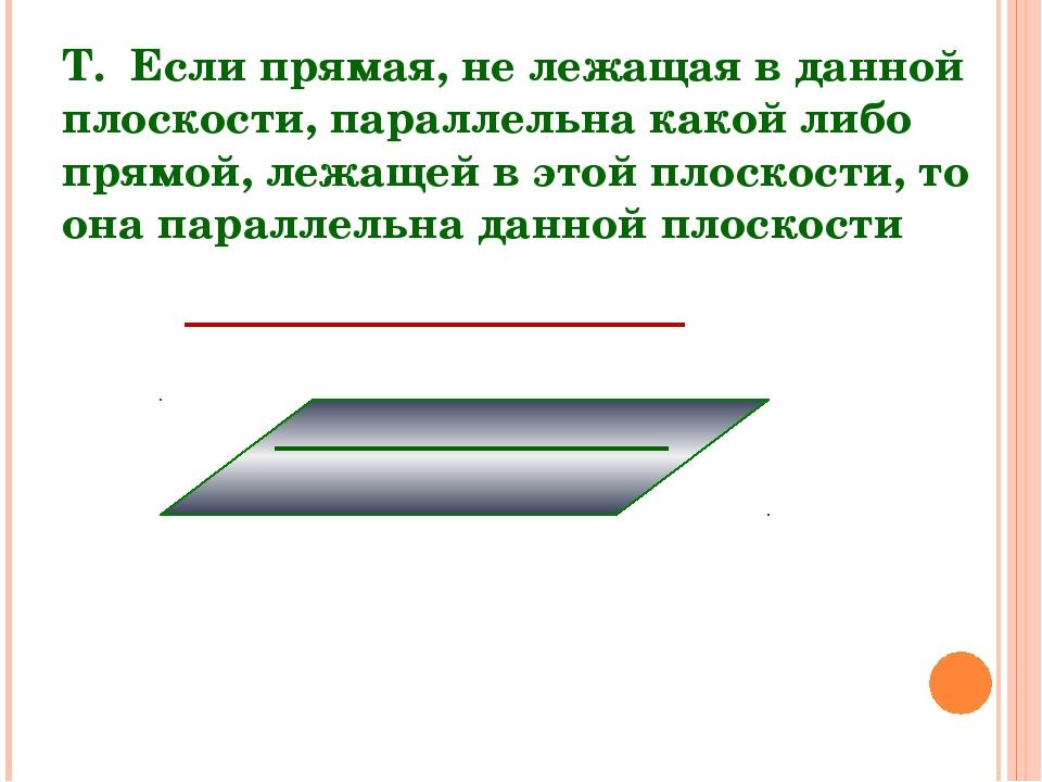 Т. Если прямая, не лежащая в данной плоскости, параллельна какой либо прямой,...
