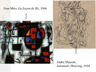 Joan Miro, La Leçon de Ski, 1966 Andre Masson, Automatic Drawing, 1924