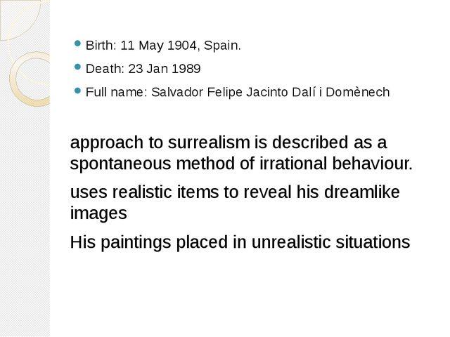 Birth: 11 May 1904, Spain. Death: 23 Jan 1989 Full name: Salvador Felipe Jaci...