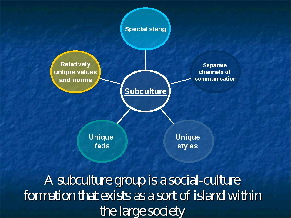 A subculture group is a social-culture formation that exists as a sort of isl...