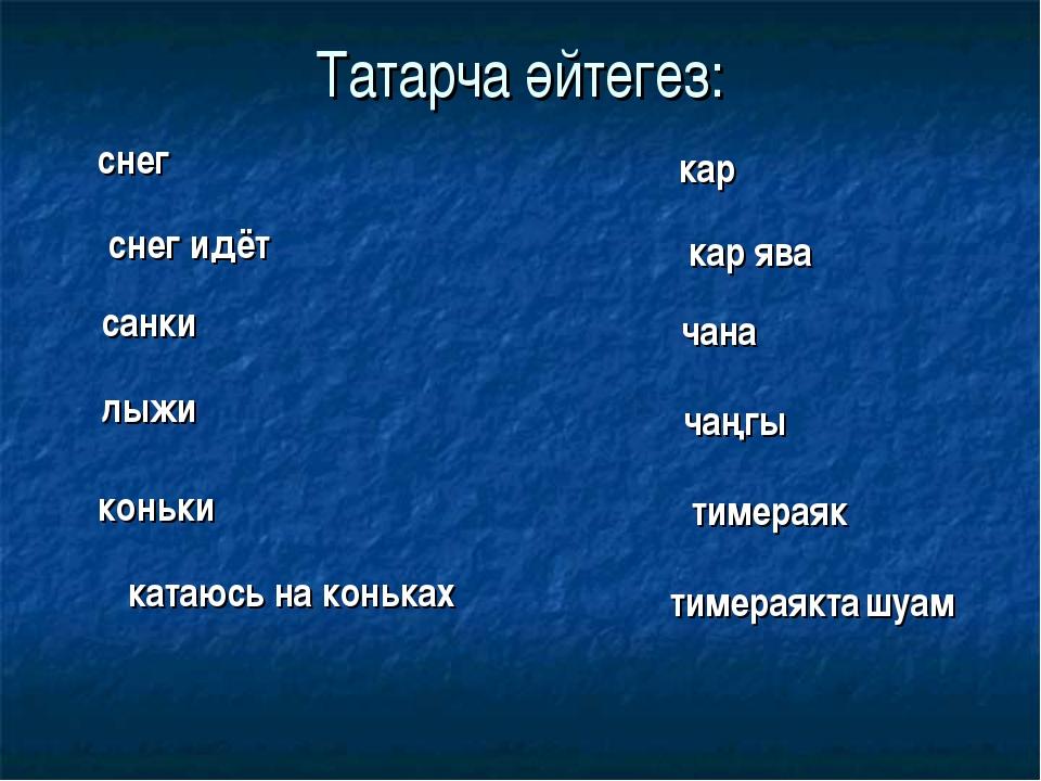 Татарча әйтегез: снег кар снег идёт кар ява санки чана лыжи чаңгы коньки тиме...