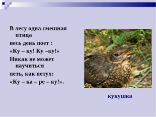 В лесу одна смешная птица весь день поет : «Ку – ку! Ку –ку!» Никак не может