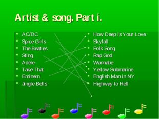 Artist & song. Part i. AC/DC Spice Girls The Beatles Sting Adele Take That Em