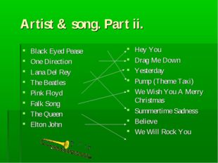Artist & song. Part ii. Black Eyed Pease One Direction Lana Del Rey The Beatl
