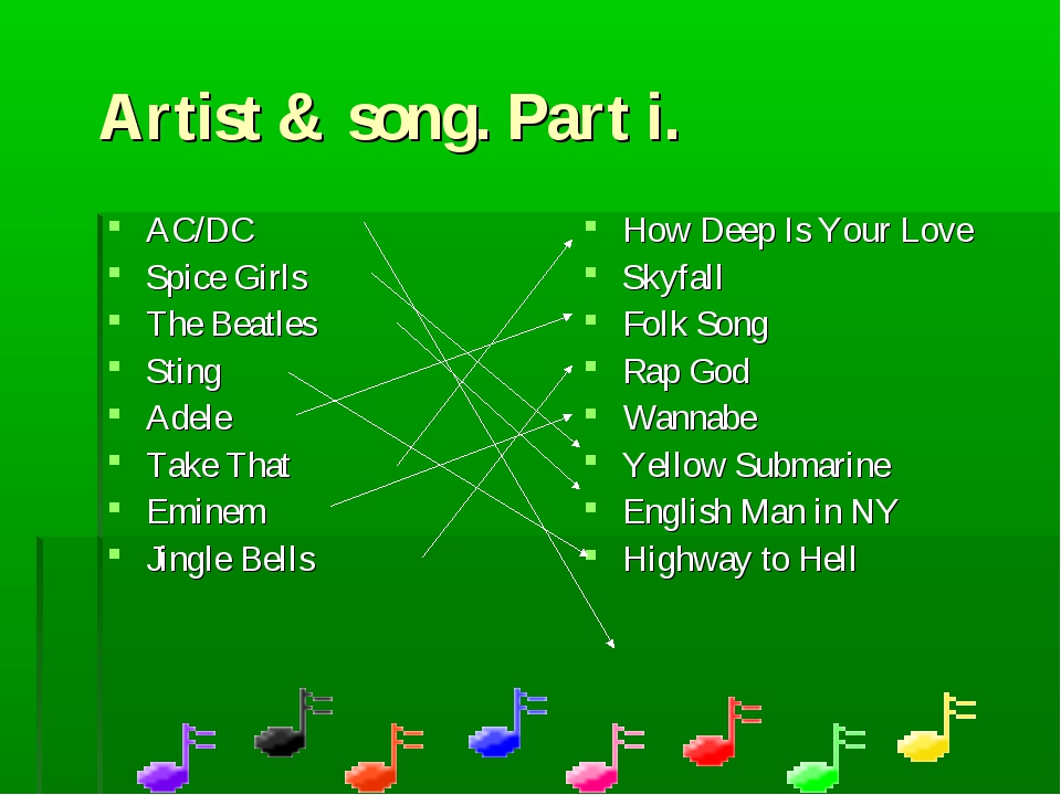 Artist & song. Part i. AC/DC Spice Girls The Beatles Sting Adele Take That Em...