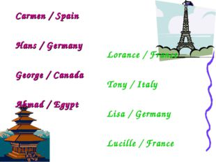 Carmen / Spain Hans / Germany George / Canada Ahmad / Egypt Lorance / France
