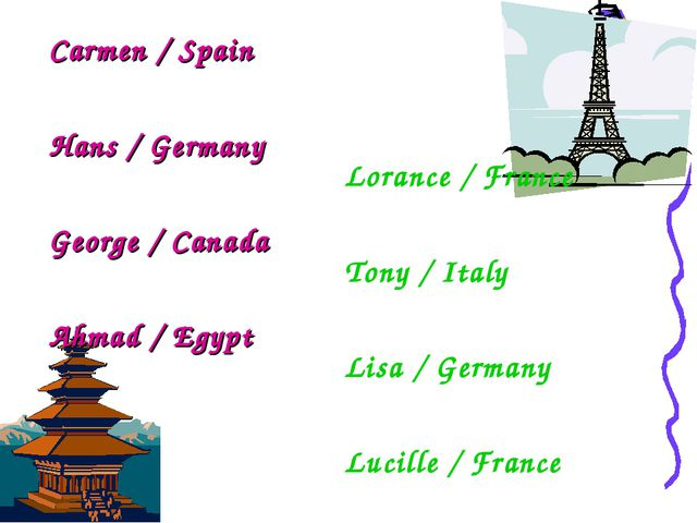 Carmen / Spain Hans / Germany George / Canada Ahmad / Egypt Lorance / France...