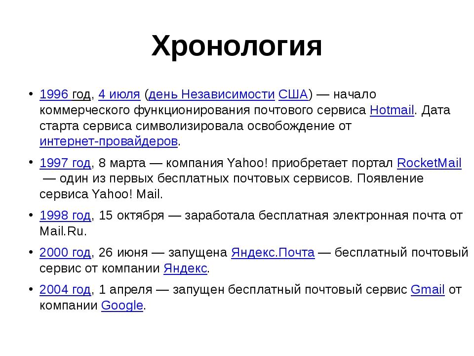 Хронология 1996 год,4 июля(день НезависимостиСША)— начало коммерческого ф...