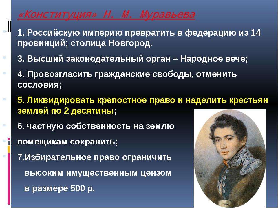 «Конституция» Н. М. Муравьева 1. Российскую империю превратить в федерацию из...