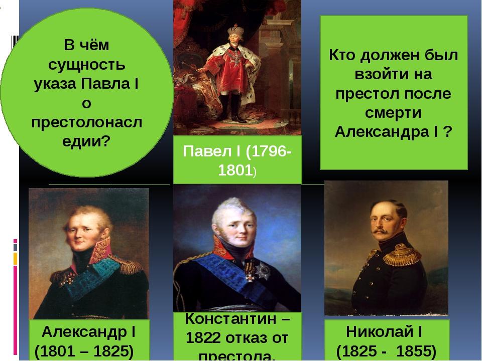 Павел Ι (1796-1801) Александр Ι (1801 – 1825) Константин – 1822 отказ от прес...