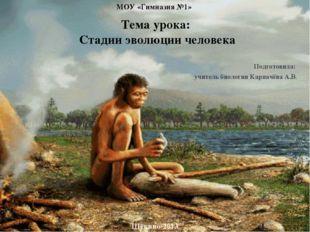 Тема урока:  Стадии эволюции человека Подготовила:  учитель биологии Карпач