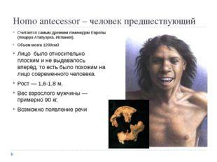 Homo antecessor – человек предшествующий Считается самым древним гоминидом Е
