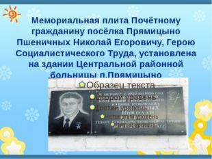 Мемориальная плита Почётному гражданину посёлка Прямицыно Пшеничных Николай Е