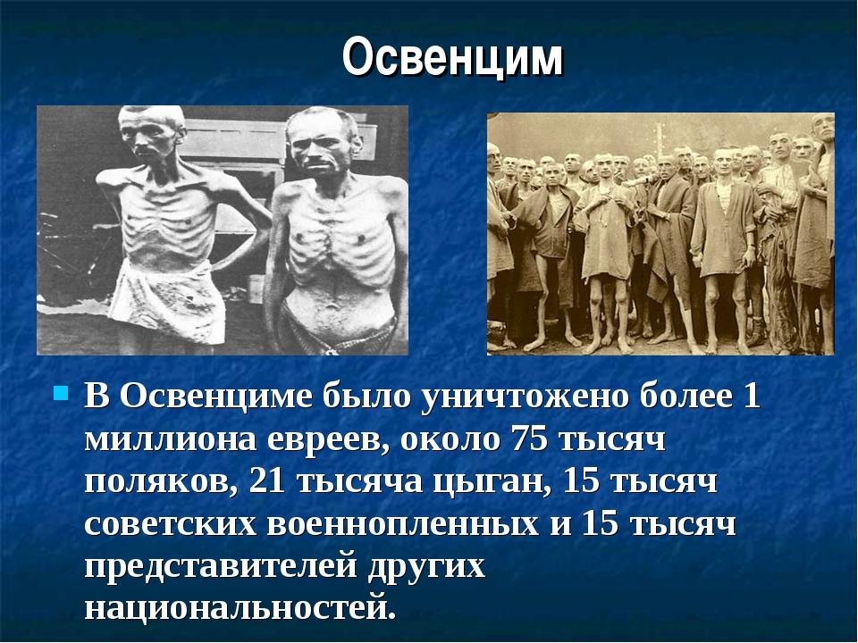 Освенцим В Освенциме было уничтожено более 1 миллиона евреев, около 75 тысяч...