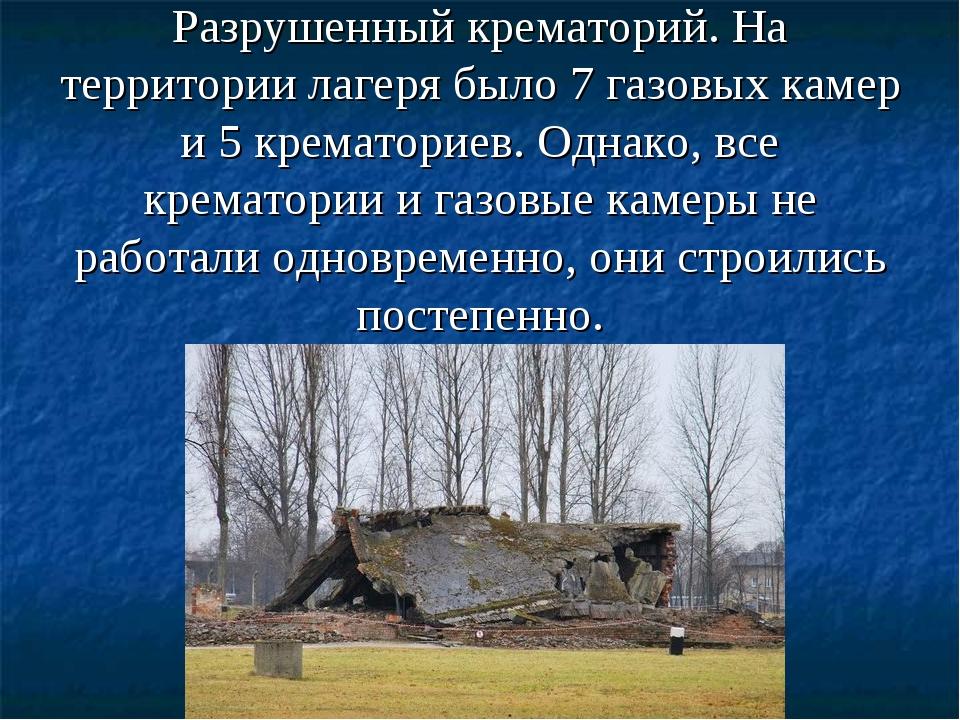 Разрушенный крематорий. На территории лагеря было 7 газовых камер и 5 кремат...
