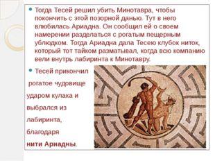 Тогда Тесей решил убить Минотавра, чтобы покончить с этой позорной данью. Тут