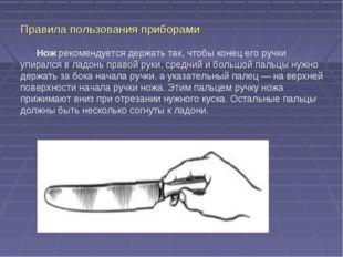 Правила пользования приборами Нож рекомендуется держать так, чтобы конец его